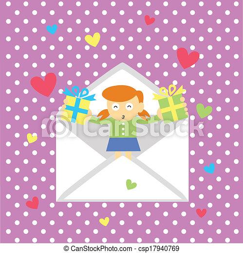 girl gives a heart - csp17940769
