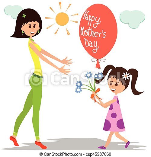 Girl giving flowers and balloon to her mother. Vector ...