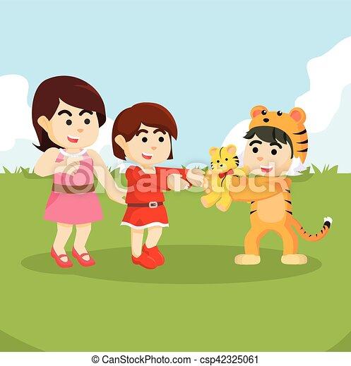 girl got a tiger doll from tiger mascot - csp42325061