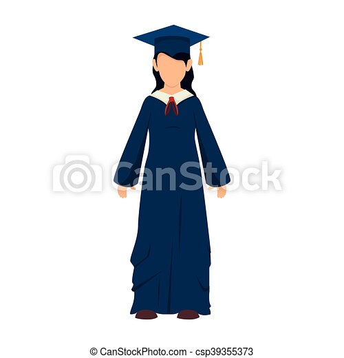 Girl graduate gown. Women girl hat graduate graduation gown cap ...
