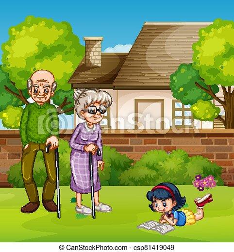 girl, grand-père, jardin - csp81419049