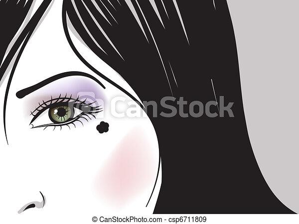 girl green eye part of face vector illustration - csp6711809