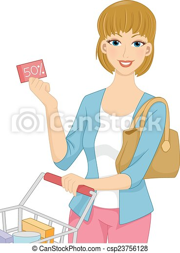 Girl Grocery Coupon Illustration Featuring A Woman Pushing A Shopping Cart Holding A Discount Coupon