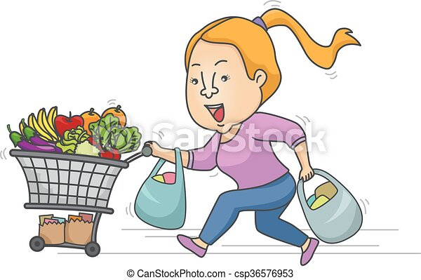 girl grocery rush sale illustration of a girl running while rh canstockphoto com grocery clipart images grocery clip art pictures