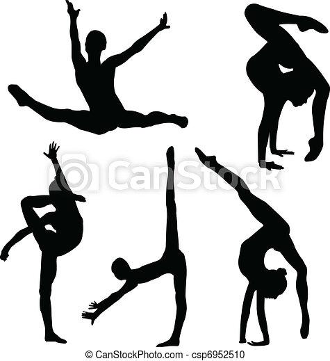 girl, gymnastique, silhouette - csp6952510