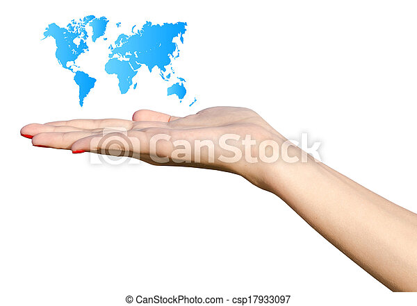 Girl Hand Holding Blue World Map - csp17933097