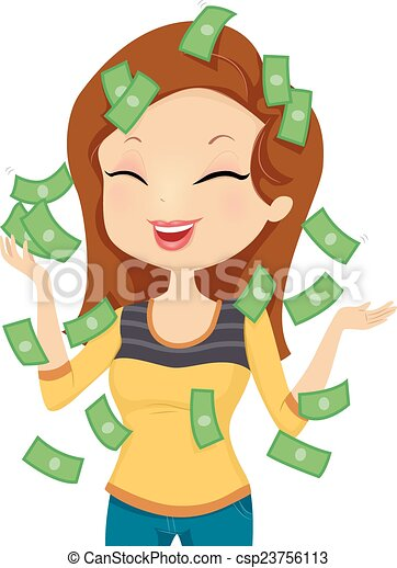girl happy money illustration featuring a smiling happily Weight Training Clip Art win cash clipart