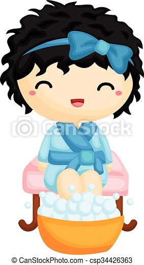 girl having a pedicure clip art vector search drawings and rh canstockphoto ca manicure pedicure clipart pedicure images clipart