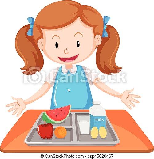 Vector Illustration of Three kids having meal on table