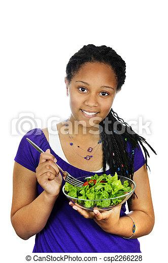 Girl having salad - csp2266228