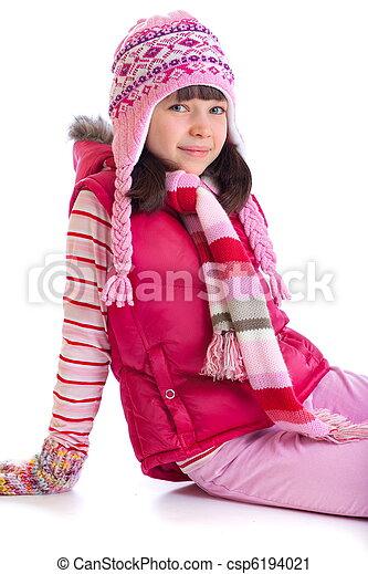 girl, heureux, porter, chaud, chapeau - csp6194021
