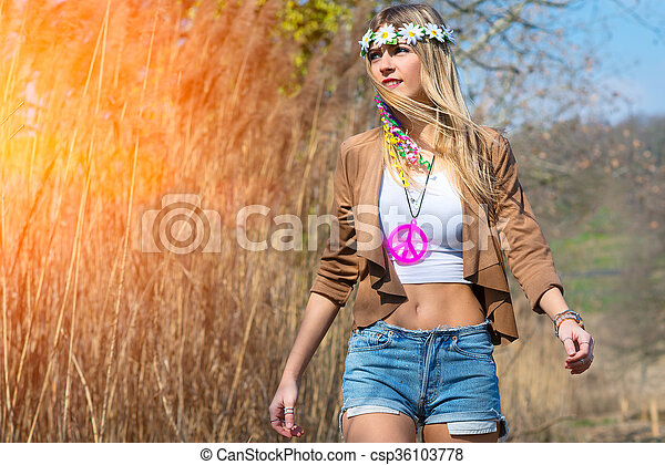 Girl hippie indie style in nature. Girl hippie indie style with a ... 570851255261