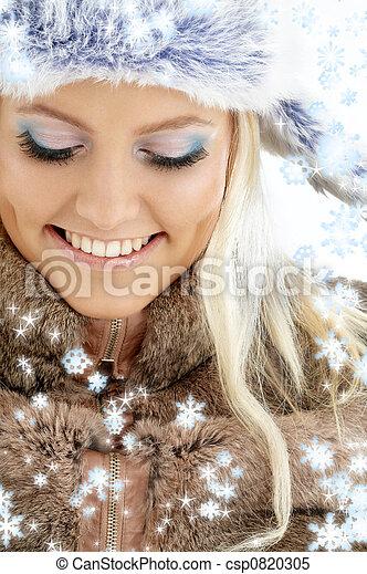 girl, hiver, flocons neige - csp0820305