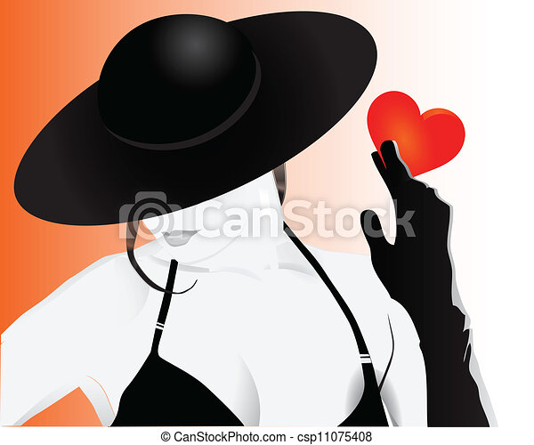 Girl holding a heart - csp11075408