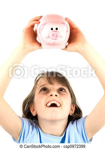 Girl holding a piggy bank - csp0972399