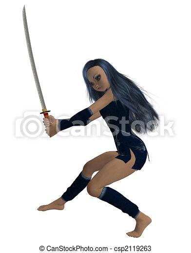 Girl Holding A Sword - csp2119263