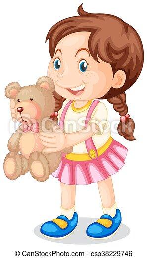 Girl holding brown teddy bear - csp38229746