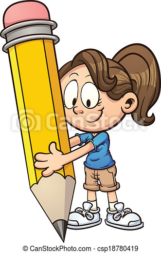 girl holding pencil girl writing with a big pencil vector rh canstockphoto com boy and girl writing clipart girl writing on the board clipart