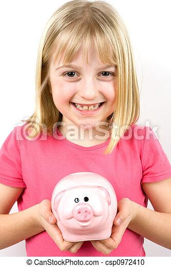 Girl Holding Piggy Bank - csp0972410