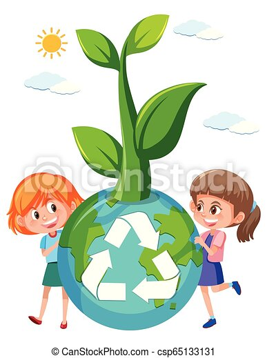 Girl holding recycle globe - csp65133131
