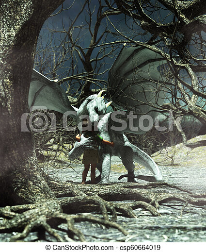 Girl hugging a dragon in creepy forest