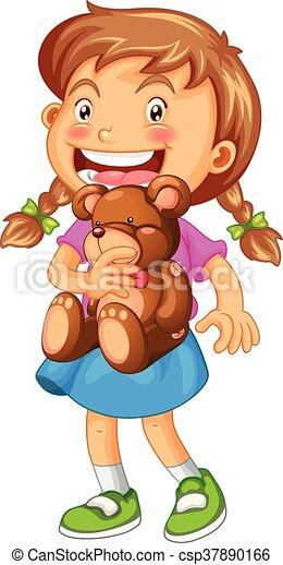 Girl hugging brown teddy bear - csp37890166