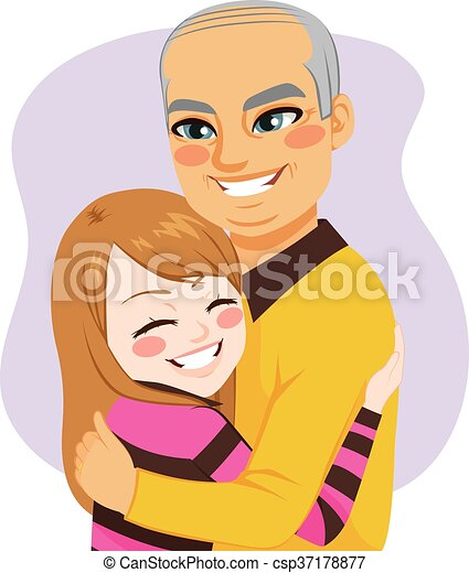 Girl Hugging Grandfather Cute Little Lovely Girl Hugging