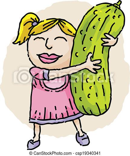 Girl Hugging Pickle - csp19340341