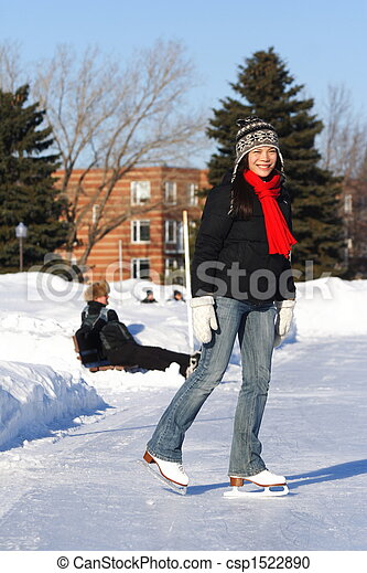 Girl ice skating - csp1522890