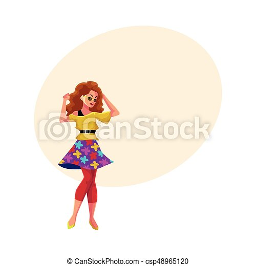 50f5ccb266ab Girl in 1980s style clothes dancing at retro disco party - csp48965120