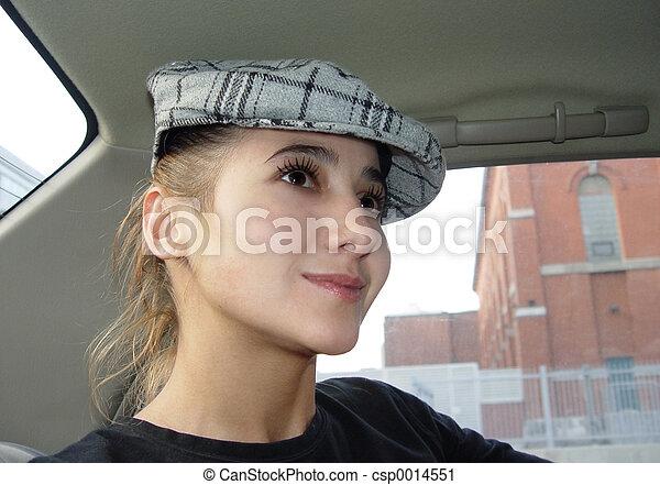 Girl in a car - csp0014551