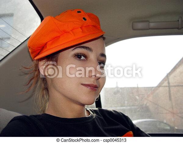 Girl in a car - csp0045313