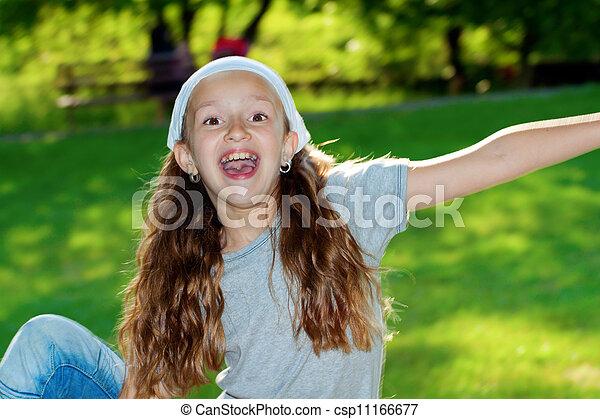 Girl in a city park portrait. - csp11166677