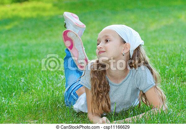 Girl in a city park portrait. - csp11166629