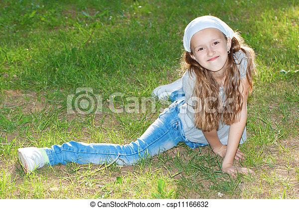 Girl in a city park portrait. - csp11166632