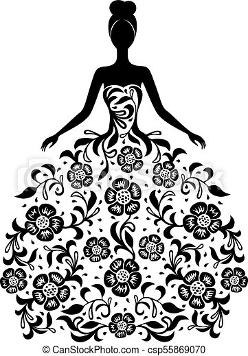 Girl in a dress with floral ornament silhouette - csp55869070