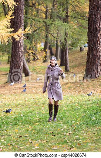 girl in autumn park - csp44028674