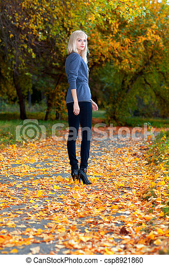 girl in autumn park - csp8921860