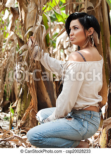 girl in bananas plantation - csp20028233
