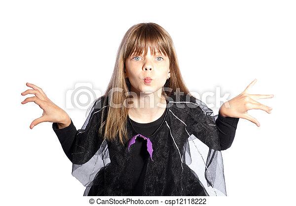 Girl in bat costume - csp12118222  sc 1 st  Can Stock Photo & Girl in bat costume. Girl in halloween dressed in bat costume.