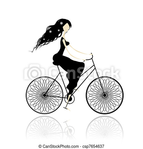 Girl in black dress cycling - csp7654637