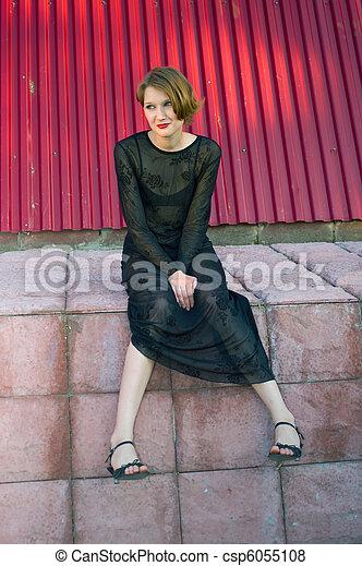 girl in black dress - csp6055108