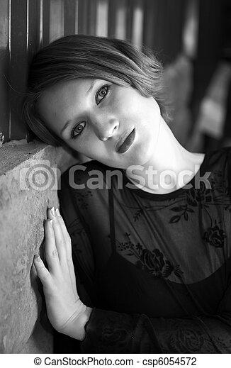 girl in black dress - csp6054572