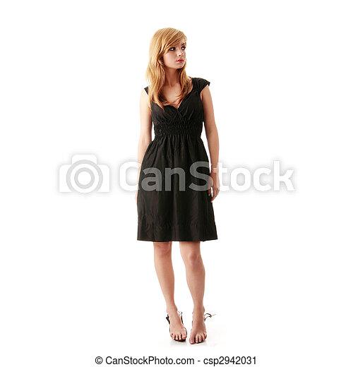 Girl in black elegant dress - csp2942031