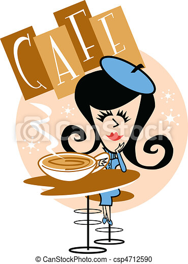 girl in cafe clip art girl or woman sitting at a table in a rh canstockphoto com café clipart cafe clipart black and white