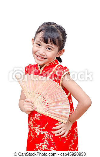 58618f18580a Little asian girl in chinese traditional dress holding fan.
