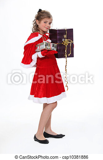 Girl in Christmas costume isolated on white background - csp10381886