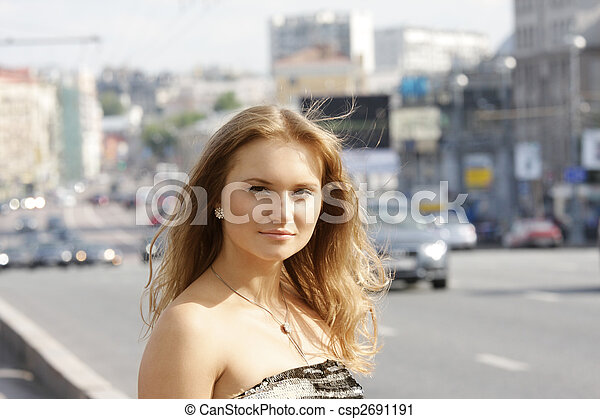 Girl in city - csp2691191