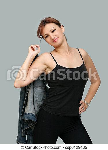 Girl in denim jacket - csp0129485