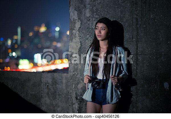 Girl in depression , grief , despair, discouragement , despair - csp40456126